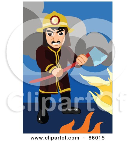 Royalty-Free (RF) Clipart Illustration of a Fireman Holding An Ax Among Flames by mayawizard101