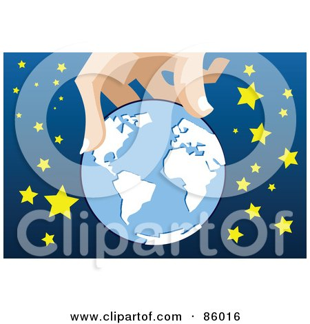 Royalty-Free (RF) Clipart Illustration of a Giant Hand Holding A Globe Around Stars by mayawizard101