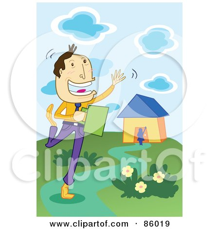 Royalty-Free (RF) Clipart Illustration of a Happy Businessman Waving While Leaving Home by mayawizard101