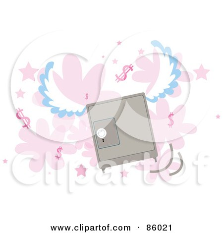 Royalty-Free (RF) Clipart Illustration of a Winged Safe Flying Over Pink Flowers, Stars And Dollar Symbols by mayawizard101