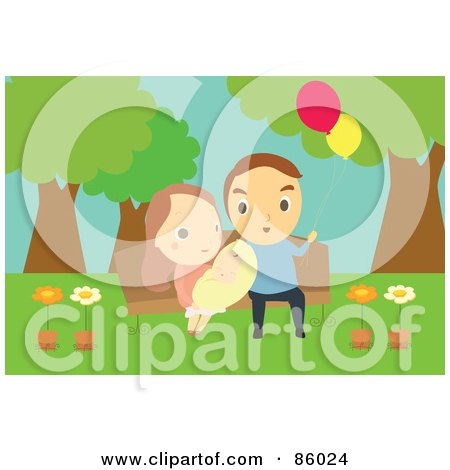 Royalty-Free (RF) Clipart Illustration of a Cute Family And Baby Sitting On A Park Bench by mayawizard101