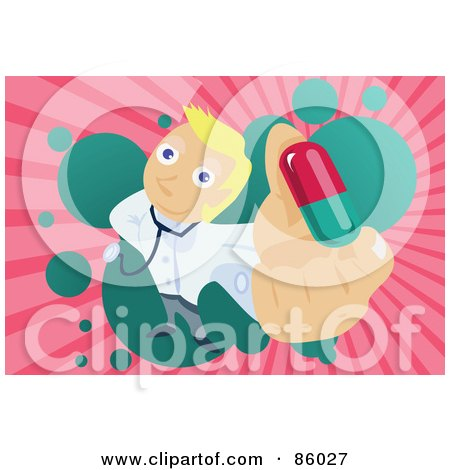 Royalty-Free (RF) Clipart Illustration of a Male Doctor Holding Up A Pill by mayawizard101