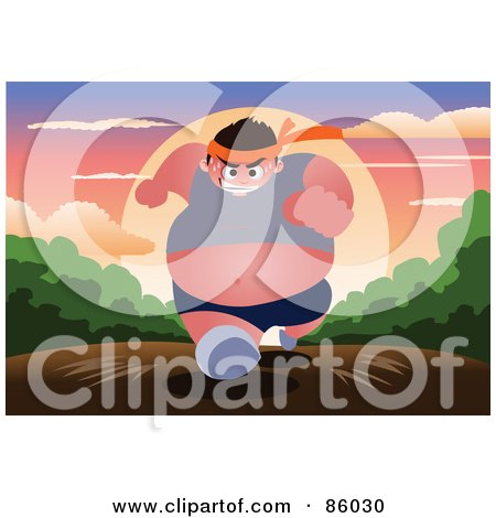 Royalty-Free (RF) Clipart Illustration of a Fat Man Running On A Path At Sunrise by mayawizard101