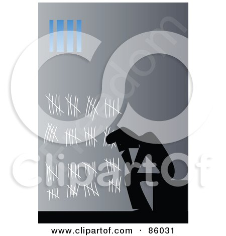 Royalty-Free (RF) Clipart Illustration of a Silhouetted Prisoner Counting His Days In Jail With Chalk On The Wall by mayawizard101
