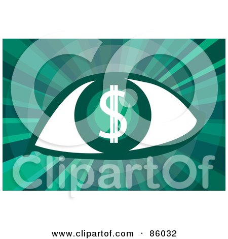 Royalty-Free (RF) Clipart Illustration of a Green Dollar Symbol Eye On Green by mayawizard101