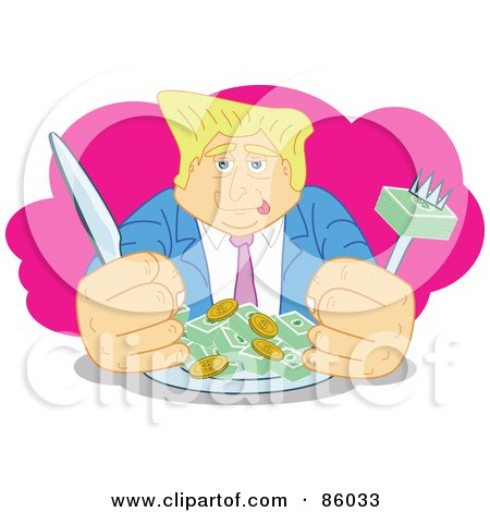 Royalty-Free (RF) Clipart Illustration of a Blond Businessman Dining On Money by mayawizard101