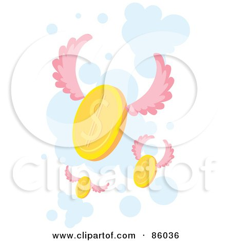 Royalty-Free (RF) Clipart Illustration of Golden Coins With Pnk Wings by mayawizard101
