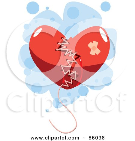 Royalty-Free (RF) Clipart Illustration of a Broken Red Heart Mended With Thread by mayawizard101