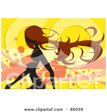 Royalty-Free (RF) Clipart Illustration of a Fit Brunette Woman Walking In An Orange Bikini by mayawizard101