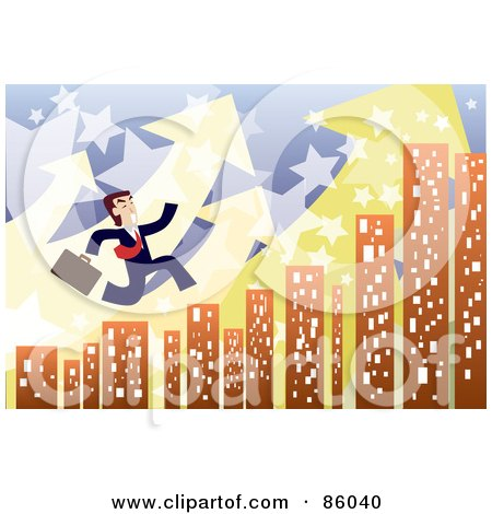 Royalty-Free (RF) Clipart Illustration of a Late Businessman Leaping Over City Skyscrapers, With Arrows And Stars by mayawizard101