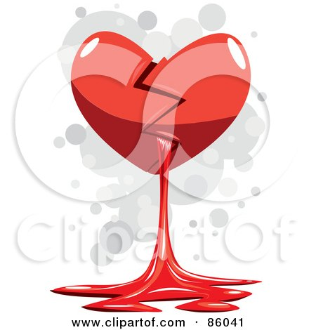 Royalty-Free (RF) Clipart Illustration of a Broken Red Heart Spilling Out Blood by mayawizard101