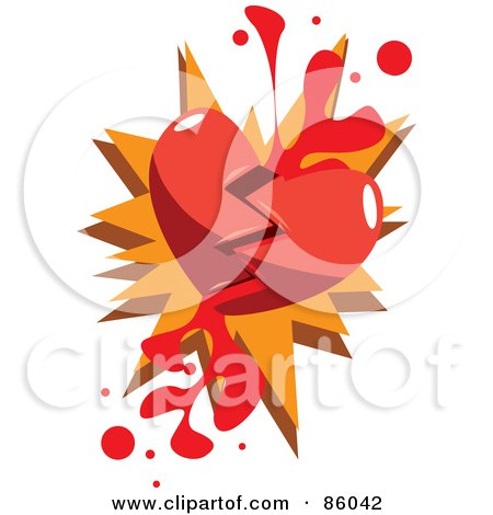 Royalty-Free (RF) Clipart Illustration of a Broken Red Heart With Blood by mayawizard101