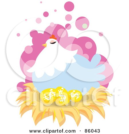 Royalty-Free (RF) Clipart Illustration of a Blue Hen Nesting On Golden Dollar Eggs by mayawizard101