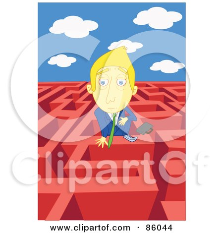 Royalty-Free (RF) Clipart Illustration of a Blond Businessman Looking Over The Wall Of A Complex Maze by mayawizard101