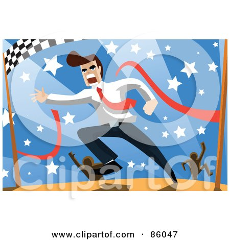 Royalty-Free (RF) Clipart Illustration of a Brunette Businessman Breaking Through The Finish Line Of A Race by mayawizard101
