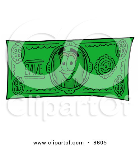 Clipart Picture of a Tooth Mascot Cartoon Character on a Dollar Bill by Toons4Biz