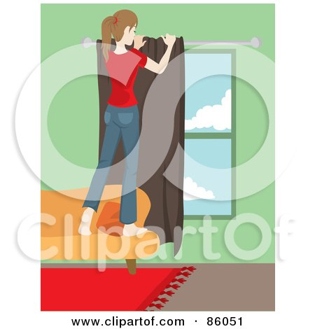 Royalty-Free (RF) Clipart Illustration of a Caucasian Woman Standing On A Sofa And Hanging Drapes by Rosie Piter