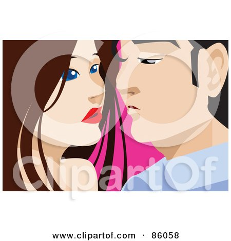 Royalty-Free (RF) Clipart Illustration of a Young Passionate Couple Leaning In For A Kiss by mayawizard101