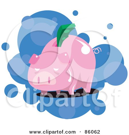 Royalty-Free (RF) Clipart Illustration of a Piggy Bank With A Greenback In The Slot by mayawizard101