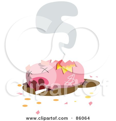 Royalty-Free (RF) Clipart Illustration of a Dead And Broken Piggy Bank by mayawizard101