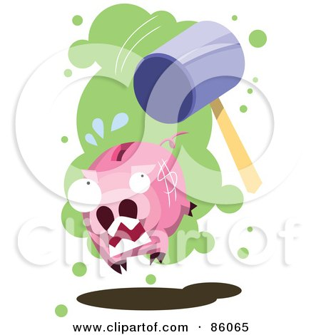 Royalty-Free (RF) Clipart Illustration of a Hammer Chasing After A Piggy Bank by mayawizard101