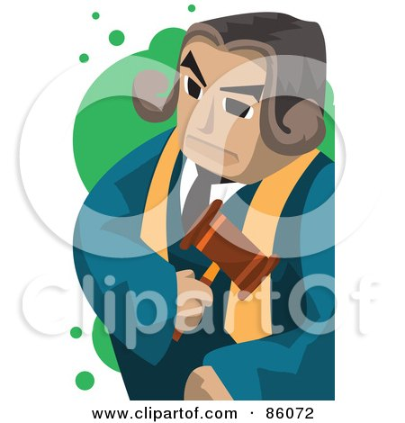 Royalty-Free (RF) Clipart Illustration of a Male Judge Standing With A Stern Expression by mayawizard101