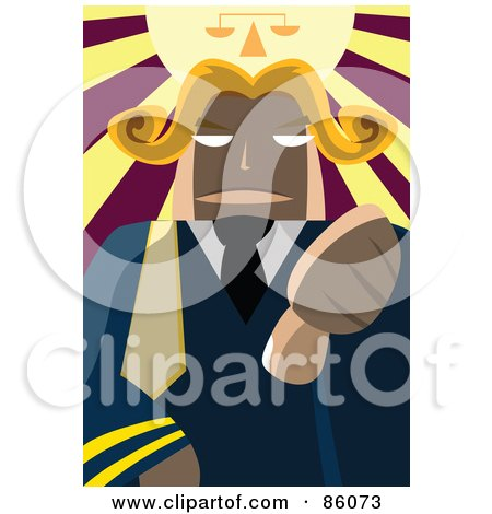 Royalty-Free (RF) Clipart Illustration of a Male Judge Holding His Thumb Down Under A Shiny Scale by mayawizard101
