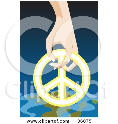 Royalty-Free (RF) Clipart Illustration of a Hand Resting A Peace Symbol On Earth by mayawizard101