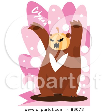 Royalty-Free (RF) Clipart Illustration of a Pumpkin Headed Bear by mayawizard101