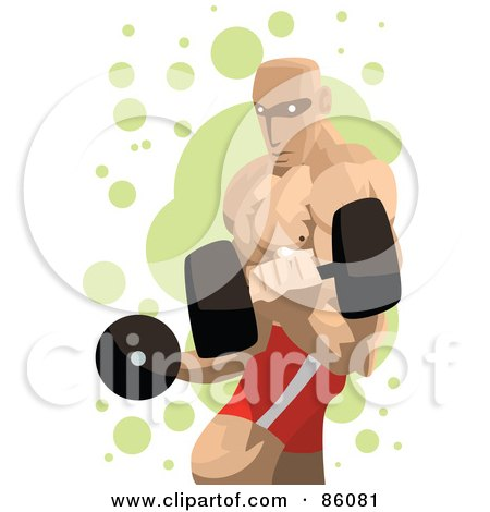 Royalty-Free (RF) Clipart Illustration of a Professional Strong Man Lifting Dumbbells by mayawizard101