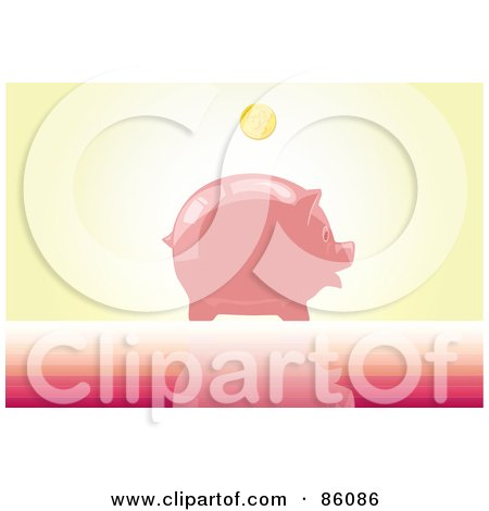 Royalty-Free (RF) Clipart Illustration of a Golden Coin Above A Shiny Piggy Bank by mayawizard101