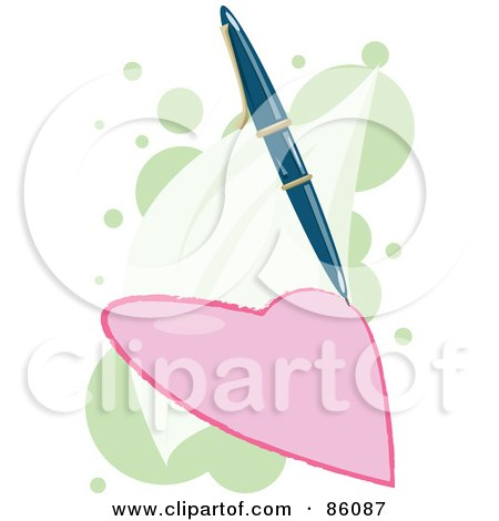Royalty-Free (RF) Clipart Illustration of a Pen Drawing A Pink Heart by mayawizard101