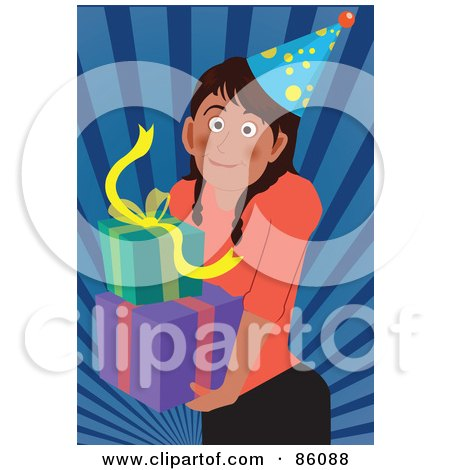 Royalty-Free (RF) Clipart Illustration of a Birthday Girl Carrying Presents by mayawizard101