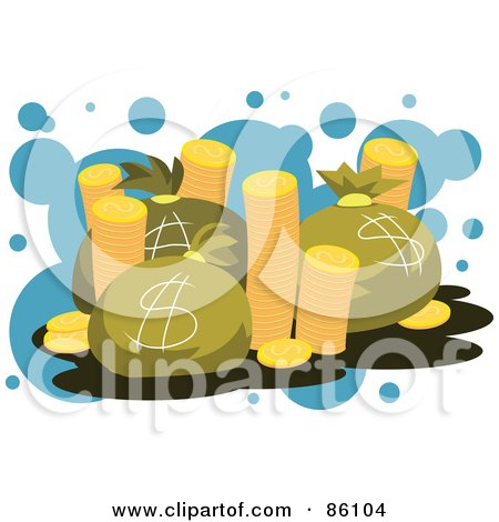 Royalty-Free (RF) Clipart Illustration of a Stacks Of Golden Coins And Money Bags by mayawizard101