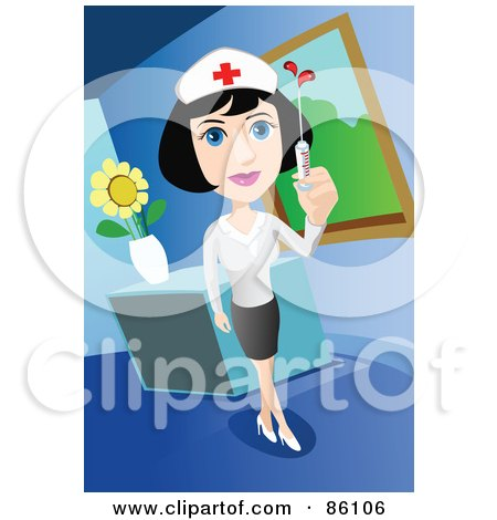 Royalty-Free (RF) Clipart Illustration of a Pretty Nurse Holding Up A Syringe By A Desk by mayawizard101
