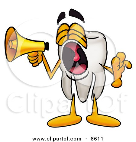 Clipart Picture of a Tooth Mascot Cartoon Character Screaming Into a Megaphone by Toons4Biz