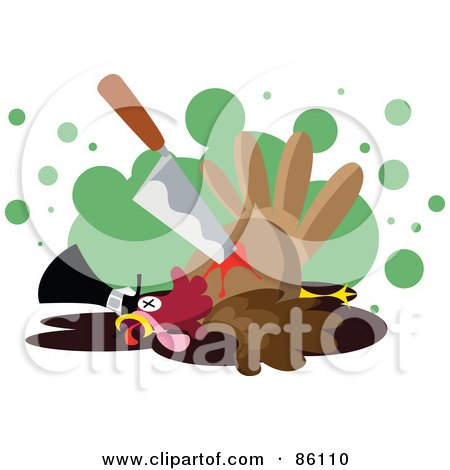 Royalty-Free (RF) Clipart Illustration of a Knife In A Bloody Turkey Bird by mayawizard101