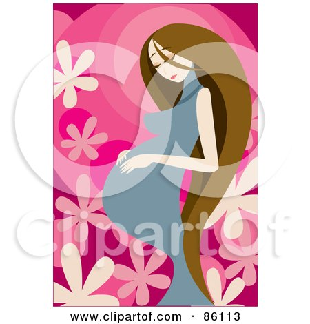 Royalty-Free (RF) Clipart Illustration of a Pregnant Woman With Long Brunette Hair, Touching Her Belly by mayawizard101