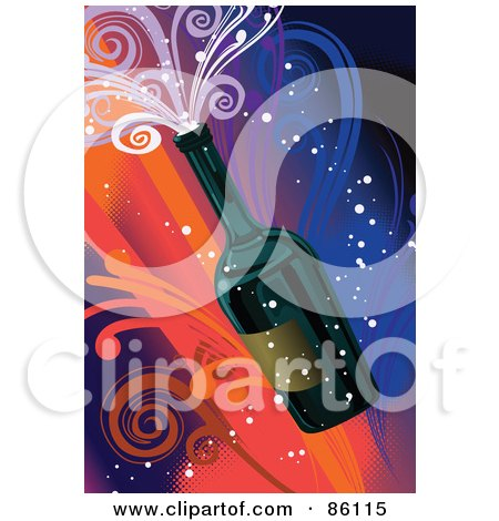 New Year Bottle Of Champagne With Colorful Swirls Posters, Art Prints