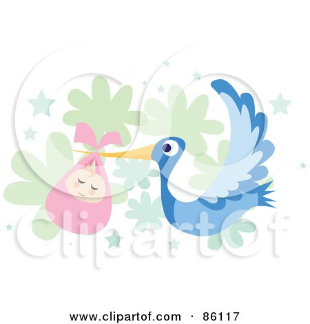 Royalty-Free (RF) Clipart Illustration of a Bundled Baby Girl Being Delivered By A Blue Stork by mayawizard101