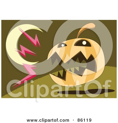 Royalty-Free (RF) Clipart Illustration of a Barking Halloween Pumpkin Under A Crescent Moon by mayawizard101