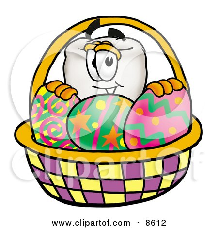 Clipart Picture of a Tooth Mascot Cartoon Character in an Easter Basket Full of Decorated Easter Eggs by Toons4Biz