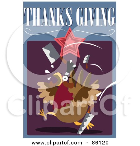 Royalty-Free (RF) Clipart Illustration of a Turkey Running From Sharp Knives by mayawizard101