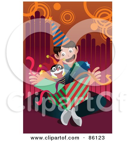 Royalty-Free (RF) Clipart Illustration of a Birthday Boy Opening A Jack In The Box by mayawizard101