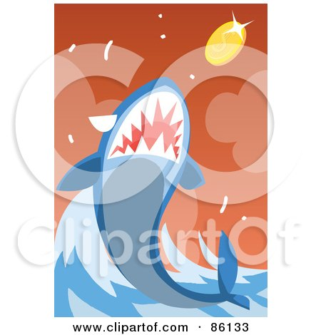 Royalty-Free (RF) Clipart Illustration of a Shark Leaping To Eat A Coin by mayawizard101