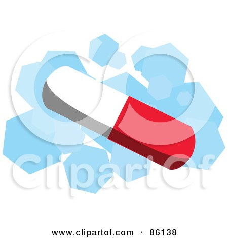 Royalty-Free (RF) Clipart Illustration of a Red And White Pill Over Blue And White by mayawizard101