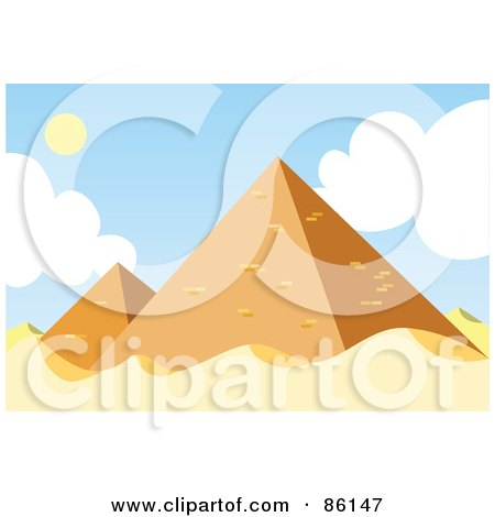 Royalty-Free (RF) Clipart Illustration of a Sunny Day At The Egyptian Pyramids by mayawizard101