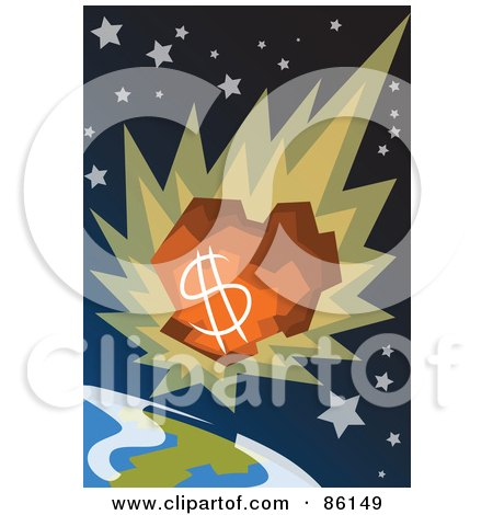 Royalty-Free (RF) Clipart Illustration of a Money Comet Plummeting Towards Earth by mayawizard101