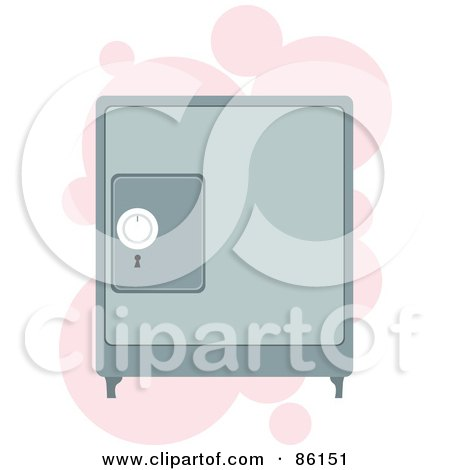 Royalty-Free (RF) Clipart Illustration of a Personal Safe Box Over Pink Bubbles by mayawizard101