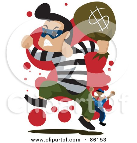 Royalty-Free (RF) Clipart Illustration of a Bank Robber Running With A Bag Of Money, Being Chased By A Cop by mayawizard101